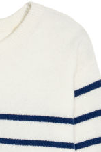 Fine-knit jumper - White/Dark blue/Striped - Kids | H&M CN 3
