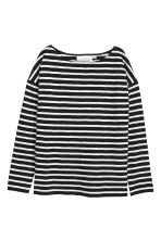 Long-sleeved top - Black/Striped - Ladies | H&M 2
