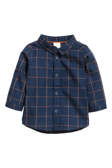 Cotton shirt - Dark blue/Checked - Kids | H&M CN 1