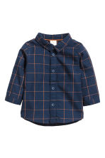 Cotton shirt - Dark blue/Checked - Kids | H&M 1