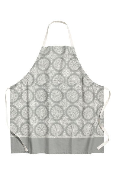 Patterned apron - Grey/White - Home All | H&M CN 1