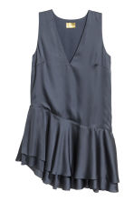 Satin tunic - Dark grey-blue - Ladies | H&M CN 2