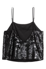 Sequined strappy top - Black - Ladies | H&M 3
