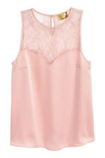 Sleeveless top with lace - Light pink - Ladies | H&M CN 2