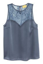 Sleeveless top with lace - Dark grey-blue - Ladies | H&M CN 2