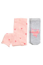 Leggings with socks - Light pink/Heart - Kids | H&M 1