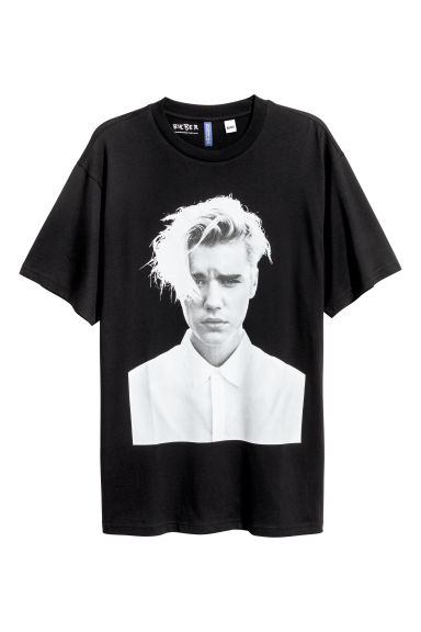 Printed T-shirt - Black/Justin Bieber - Men | H&M 1