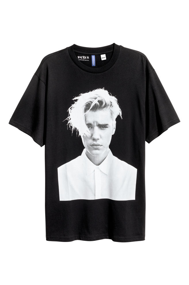 Printed T-shirt - Black/Justin Bieber - Men | H&M