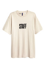 Printed T-shirt - Light beige/Justin Bieber - Men | H&M 1
