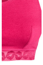 Soft cotton bra top - Dark pink - Ladies | H&M 3