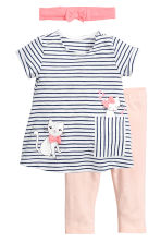 3-piece jersey set - White/Dark blue/Striped - Kids | H&M 1