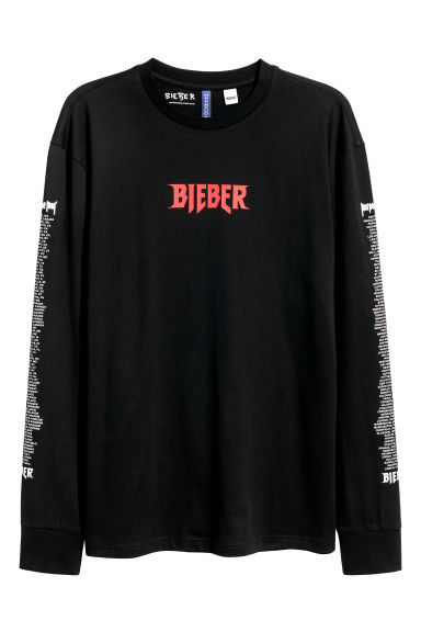 Long-sleeved printed T-shirt - Black/Justin Bieber - Men | H&M