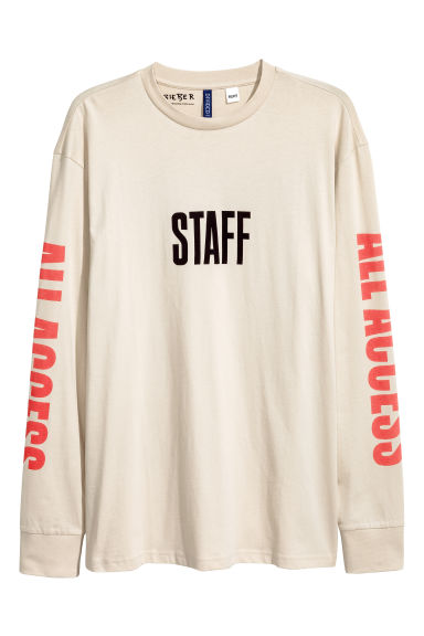 Long-sleeved printed T-shirt - Light beige/Justin Bieber - Men | H&M