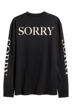 Long-sleeved printed T-shirt - Black/Justin Bieber - Men | H&M 2