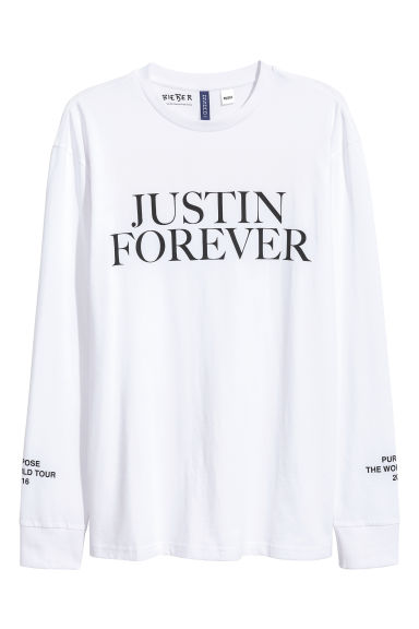 Long-sleeved printed T-shirt - White/Justin Bieber - Men | H&M 1