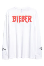 Long-sleeved printed T-shirt - White/Justin Bieber - Men | H&M 2