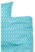 Patterned duvet cover set - Dark turquoise/White - Home All | H&M CN 3