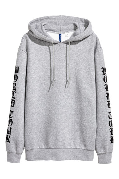 Printed hooded top - Grey/Justin Bieber - Men | H&M 1