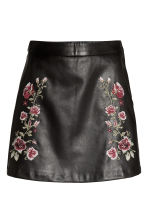 Embroidered skirt - Black/Roses - Ladies | H&M GB 2