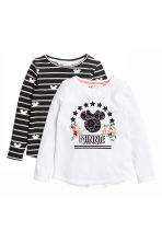 2-pack long-sleeved tops - Black/Minnie Mouse - Kids | H&M 2