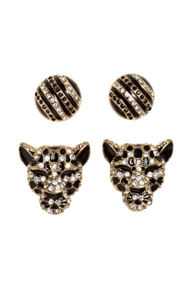 2 pairs earrings - Gold/Black - Ladies | H&M CN 1