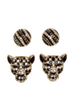 2 pairs earrings - Gold/Black - Ladies | H&M 1