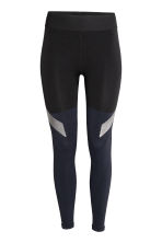 Seamless sports tights - Black - Ladies | H&M 1