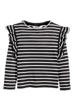 Top with frills - Black/White/Striped - Kids | H&M CN 2