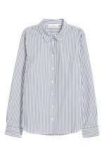 Cotton shirt - White/Blue striped - Ladies | H&M CN 2