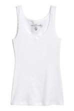 Lace-trimmed cotton vest top - White - Ladies | H&M CN 2