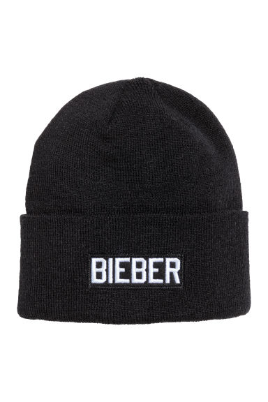 Fine-knit hat - Black/Justin Bieber - Men | H&M CN 1