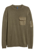 Fine-knit cotton jumper - Khaki green - Men | H&M 2