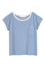 Short-sleeved top - White/Blue striped -  | H&M 2