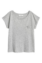 Short-sleeved top - Grey marl - Ladies | H&M CN 2