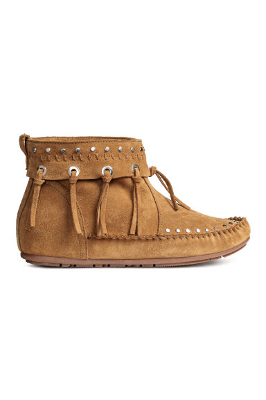 Suede moccasin ankle boots - Camel - Ladies | H&M CN 1
