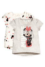 2-pack jersey tops - Light grey/Minnie Mouse - Kids | H&M CN 2