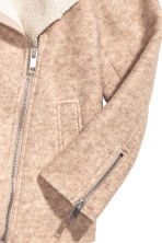 Wool-blend biker jacket - Light beige marl - Ladies | H&M 4