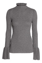 Rib-knit frilled jumper - Dark grey marl - Ladies | H&M 2