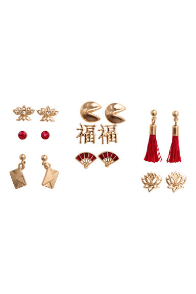 8 pairs earrings - Gold/Red - Ladies | H&M CN 1