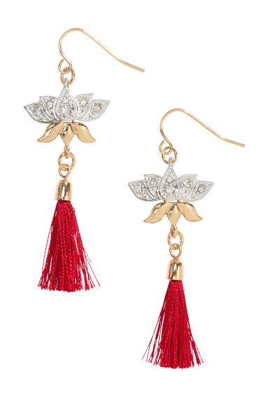 Tasselled earrings - Gold/Red - Ladies | H&M CN