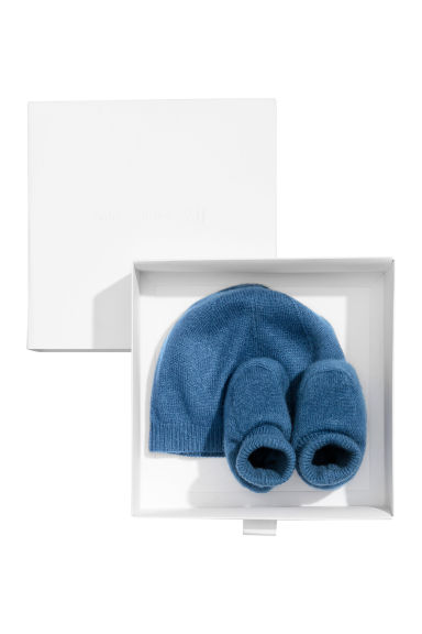 Cashmere-blend hat and bootees - Blue - Kids | H&M CN 1
