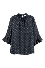 Blouse with flounced sleeves - Dark blue/Spotted - Ladies | H&M CN 2