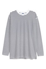Oversized long-sleeved T-shirt - White/Black striped - Men | H&M 2