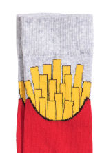 Jacquard-knit socks - Red/French fries - Men | H&M 2