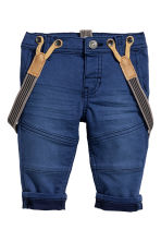 Twill trousers with braces - Dark blue - Kids | H&M CN 1