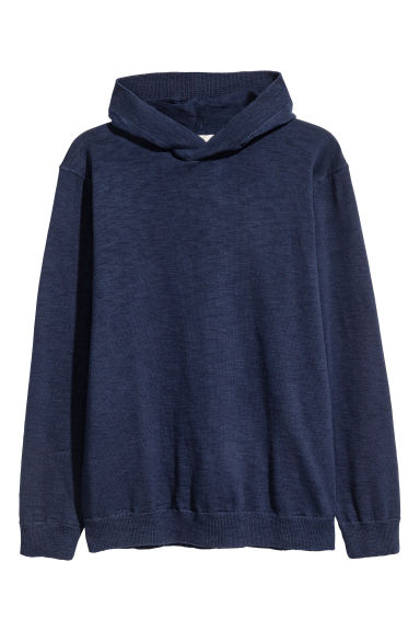 Fine-knit hooded jumper - Dark blue - Men | H&M 1