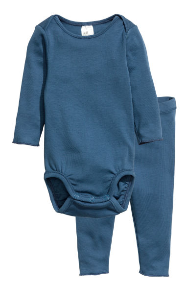 Bodysuit and leggings - Blue - Kids | H&M 1