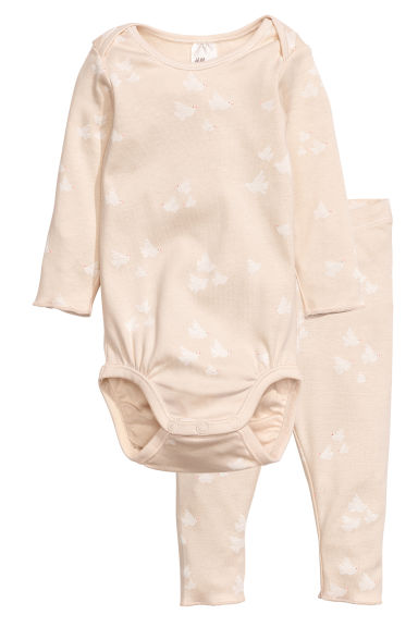 Bodysuit and leggings - Light beige - Kids | H&M 1