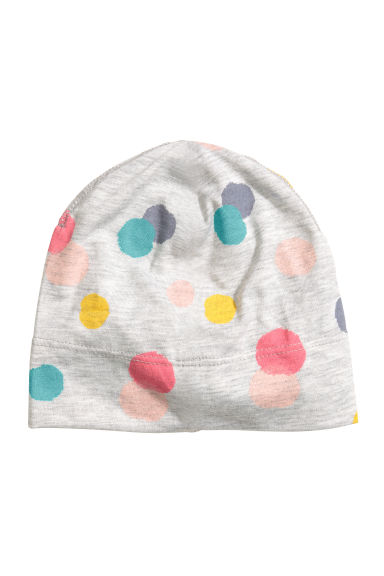 Spotted jersey hat - Light grey/Spotted - Kids | H&M CN 1