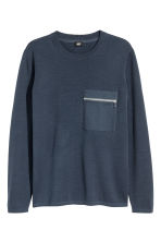 Fine-knit cotton jumper - Navy blue - Men | H&M 2